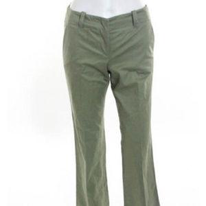 Theory Green Cotton sage green flare pants 0